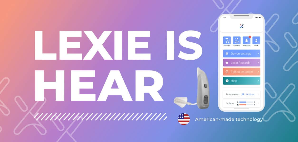 Lexie Lumen hearing aid and smartphone app showcasing a premium hearing aid and an hearing aid at an affordable price.