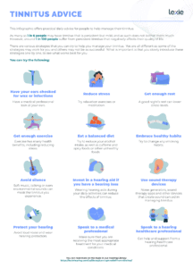 An infographic containing advice on tinnitus